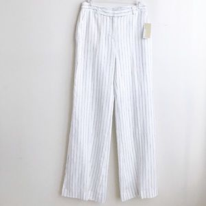 Micheal Kors White stripes linen trousers size 4